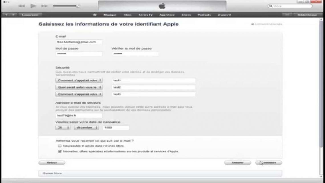 Comment creer un compte apple store